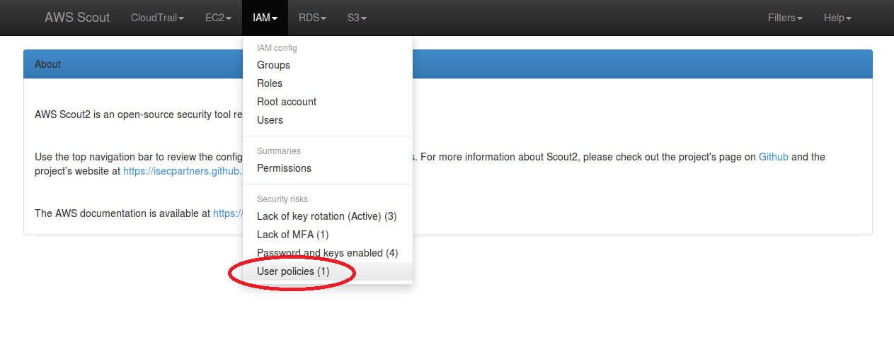 Screenshot: IAM menu dropdown with a User policies security risk