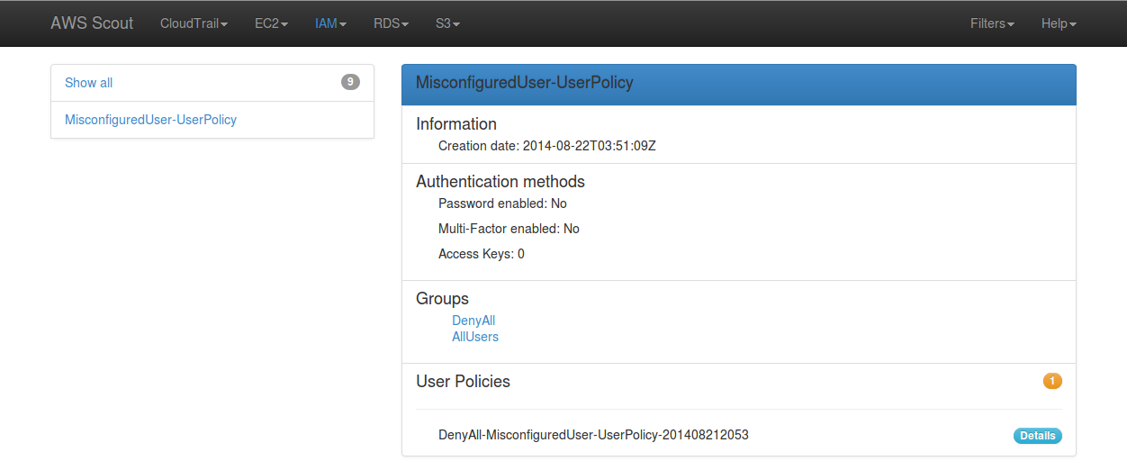 Screenshot: Orange badge indicating that at least one user policy is attached to that IAM user